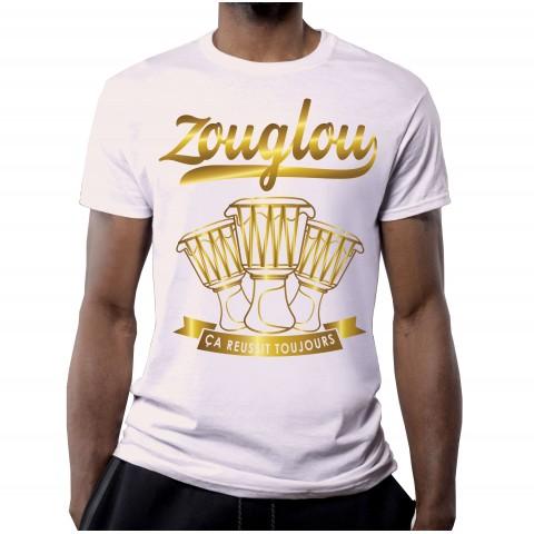 T-SHIRT ZOUGLOU 100% COTON VINTAGE BLANC OR