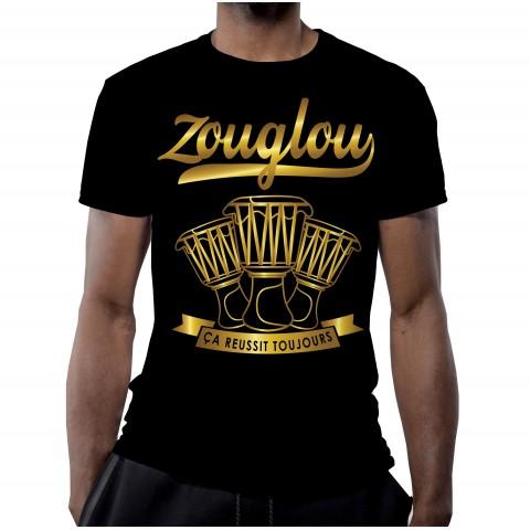 T-SHIRT ZOUGLOU 100% COTON VINTAGE NOIR OR