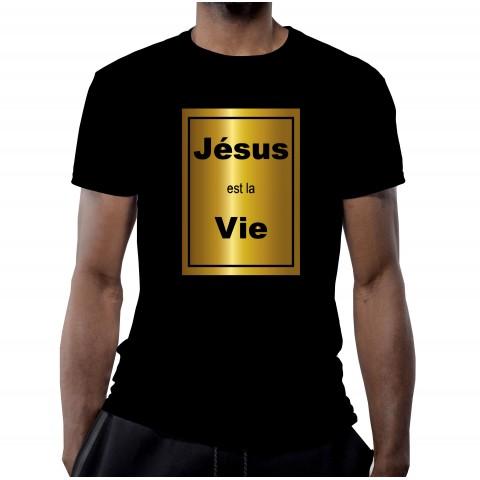 T-SHIRT JESUS EST LA VIE NOIR OR