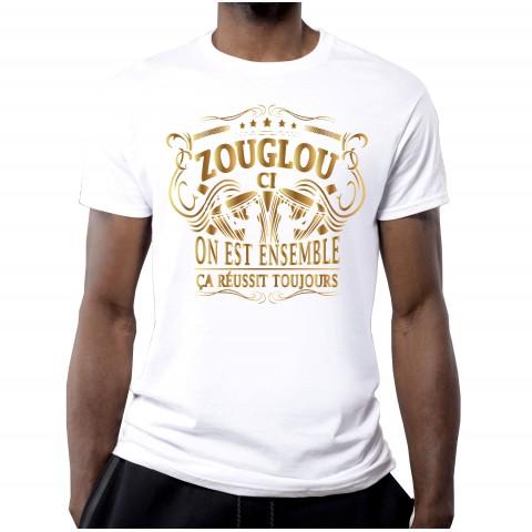 T-SHIRT 100% ZOUGLOU VINTAGE OR BLANC